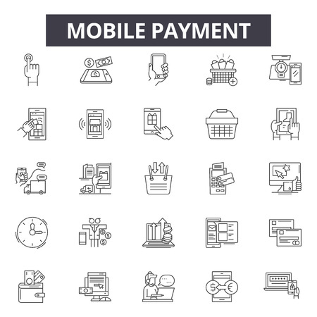 Mobile payment line icons, signs, vector set, outline concept, linear illustration