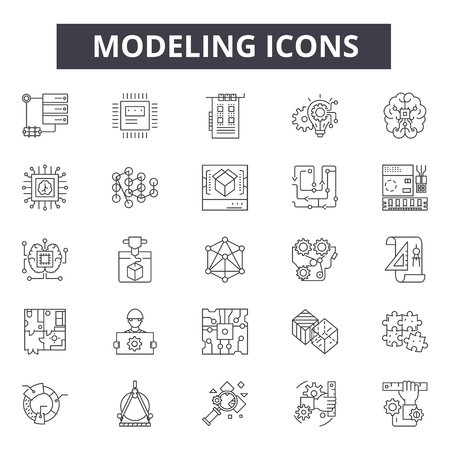 Modeling concept line icons, signs, vector set, outline concept, linear illustration