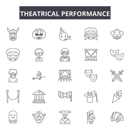 Theatrical performance line icons, signs, vector set, outline concept, linear illustration