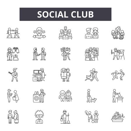 Iconos de línea de club social, signos, conjunto de vectores, concepto de esquema, ilustración lineal