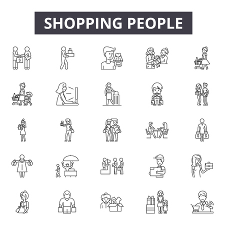 Shopping people line icons, signs, vector set, outline concept, linear illustration