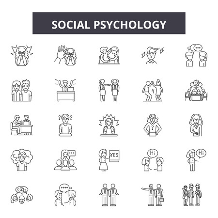 Social psychology line icons, signs, vector set, outline concept, linear illustration Illustration