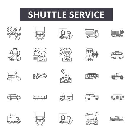 Icônes de ligne de service de navette, signes, ensemble de vecteurs, concept de contour, illustration linéaire