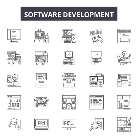 Software development line icons, signs, vector set, outline concept, linear illustration  イラスト・ベクター素材