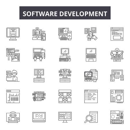 Software development line icons, signs, vector set, outline concept, linear illustration Illustration