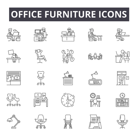 Office furniture line icons, signs, vector set, outline concept, linear illustration