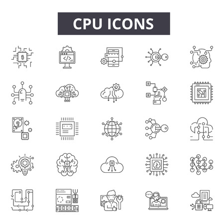 Cpu line icons, signs, vector set, outline concept, linear illustration