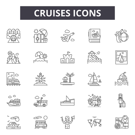 Cruises line icons, signs, vector set, outline concept, linear illustration Illustration