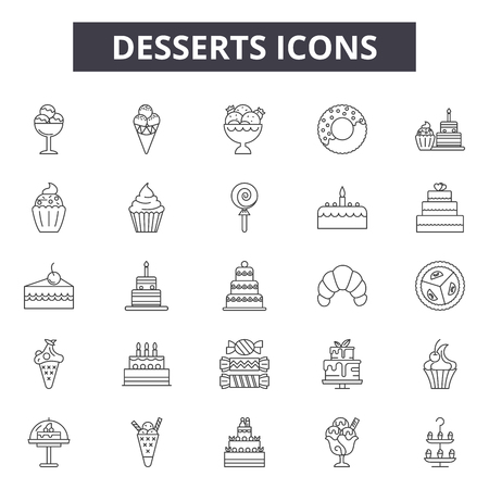 Desserts line icons, signs, vector set, outline concept, linear illustration
