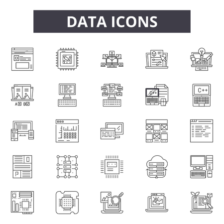 Data line icons, signs, vector set, outline concept, linear illustration