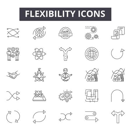 Icônes de ligne de flexibilité, signes, ensemble de vecteurs, concept de contour, illustration linéaire