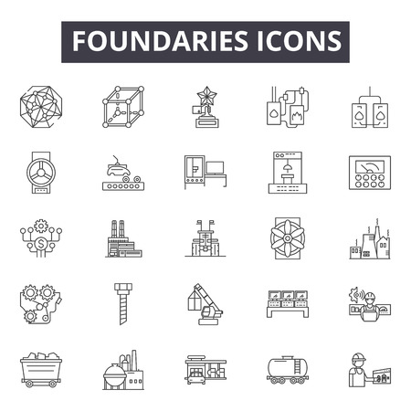 Foundaries line icons, signs, vector set, outline concept, linear illustration