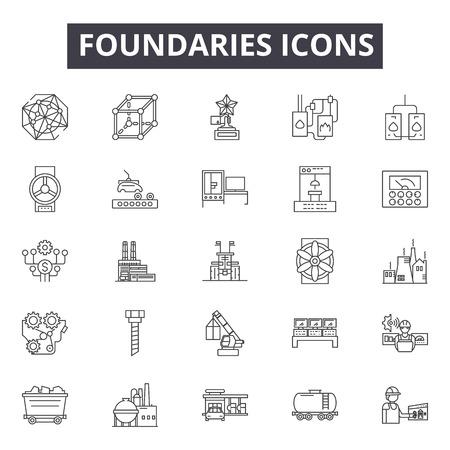 Icônes de ligne de fonderies, signes, ensemble de vecteurs, concept de contour, illustration linéaire Vecteurs