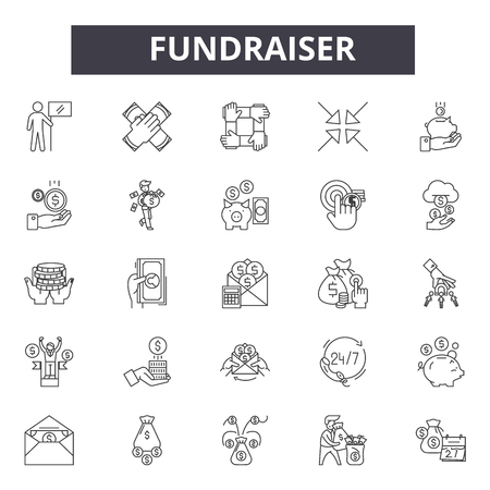 Fundraiser line icons, signs, vector set, outline concept, linear illustration
