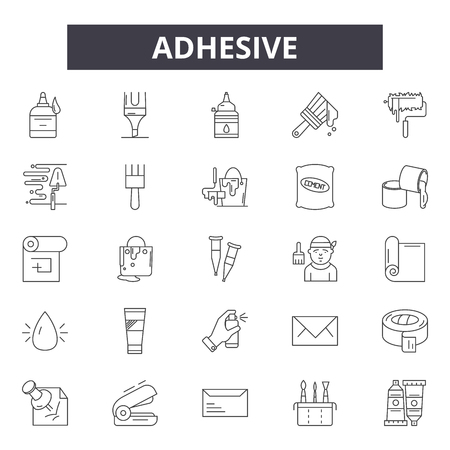 Adhesive line icons, signs, vector set, outline concept, linear illustration Banque d'images - 122419306