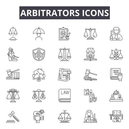 Árbitros línea iconos, signos, conjunto de vectores, concepto de esquema, ilustración lineal