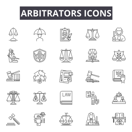 Arbitrators line icons, signs, vector set, outline concept, linear illustration Stock Illustratie