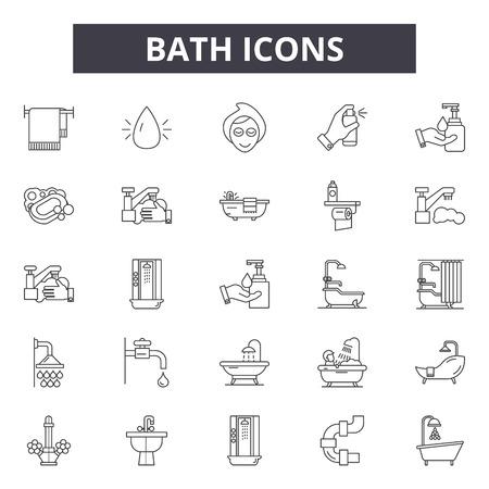 Ikony linii kąpieli, znaki, wektor zestaw, koncepcja konspektu, ilustracja liniowa Ilustracje wektorowe