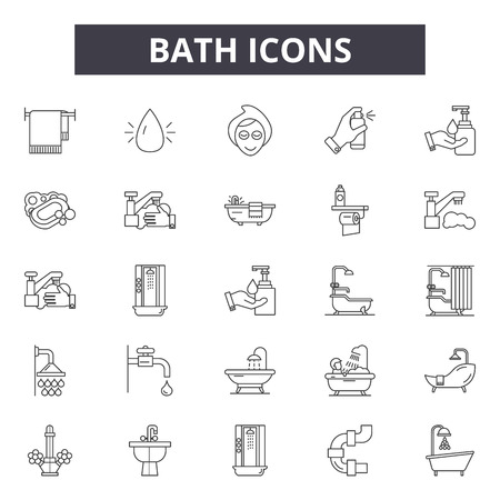 Linea bagno icone, segni, set di vettore, concetto di contorno, illustrazione lineare Vettoriali