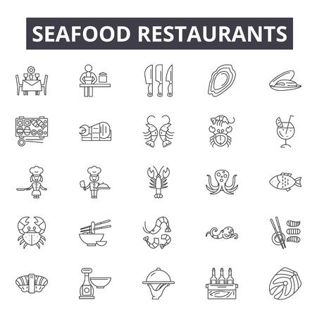 Seafood restaurants line icons, signs, vector set, outline concept, linear illustration