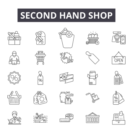 Second hand shop line icons, signs, vector set, outline concept, linear illustration