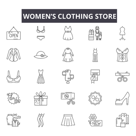 Womens clothing store line icons, signs, vector set, outline concept, linear illustration