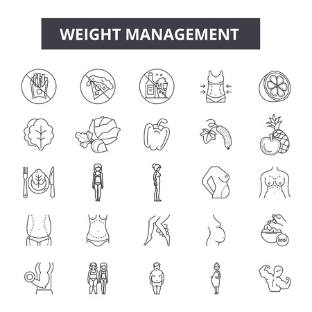Weight management line icons, signs, vector set, outline concept, linear illustration