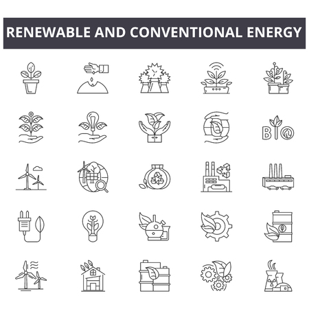 Erneuerbare und konventionelle Energieliniensymbole, Zeichen, Vektorsatz, Umrisskonzept, lineare Illustration