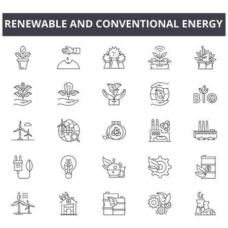 Ikony linii energii odnawialnej i konwencjonalnej, znaki, wektor zestaw, koncepcja zarysu, ilustracja liniowa