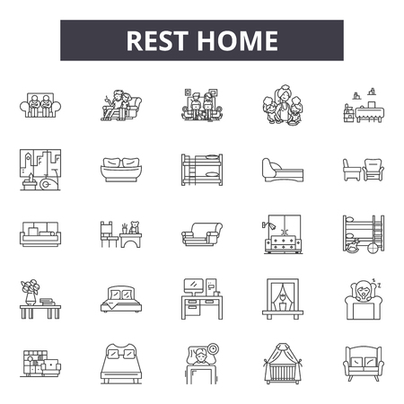 Rest home line icons, signs, vector set, outline concept, linear illustration Stock Vector - 122419457