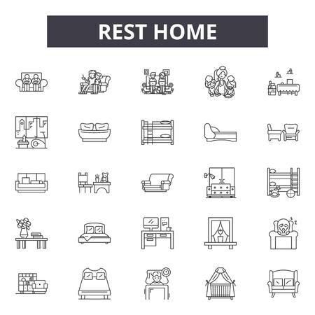 Rest home line icons, signs, vector set, outline concept, linear illustration