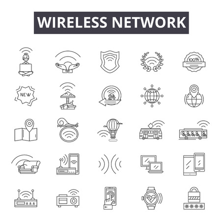 Wireless network line icons, signs, vector set, outline concept, linear illustration