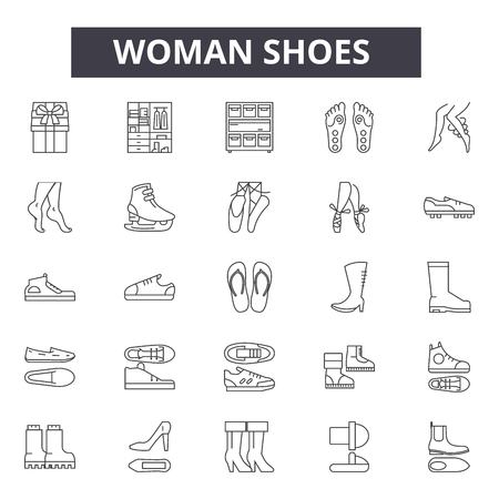 Woman shoes line icons, signs, vector set, outline concept, linear illustration