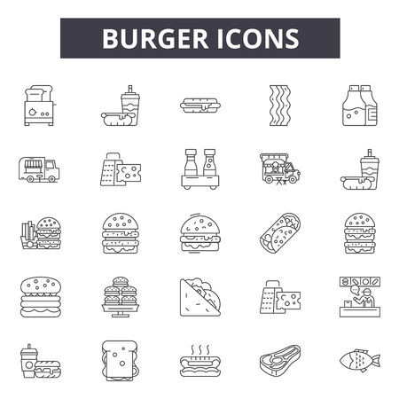 Burger line icons, signs, vector set, outline concept, linear illustration Vectores