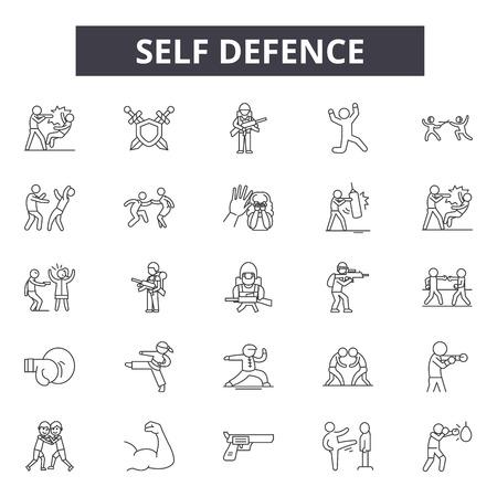 Iconos de línea de autodefensa, signos, conjunto de vectores, concepto de esquema, ilustración lineal