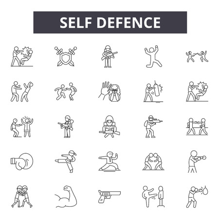 Zelfverdedigingslijnpictogrammen, tekens, vectorreeks, overzichtsconcept, lineaire afbeelding