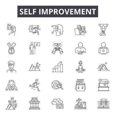 Self improvement line icons, signs, vector set, outline concept, linear illustration Vetores