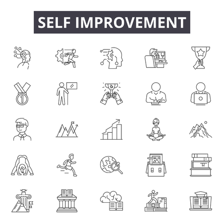 Self improvement line icons, signs, vector set, outline concept, linear illustration Illustration