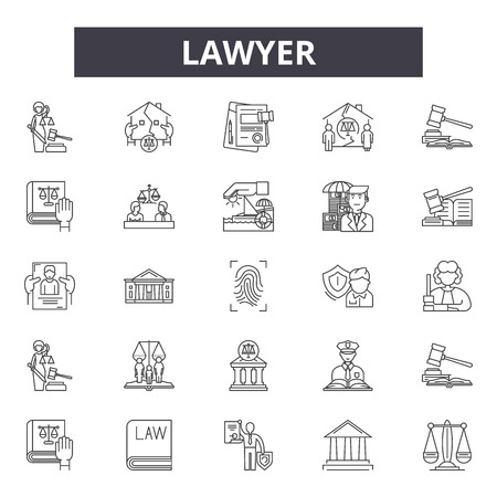 Lawyer line icons, signs, vector set, outline concept, linear illustration