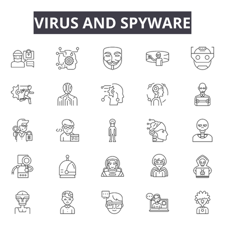 Virus and spyware line icons, signs, vector set, outline concept, linear illustration