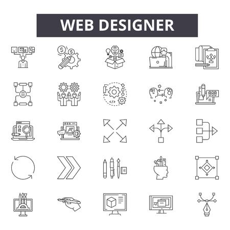 Web designer line icons, signs, vector set, outline concept, linear illustration