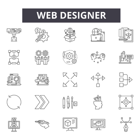 Web designer line icons, signs, vector set, outline concept, linear illustration