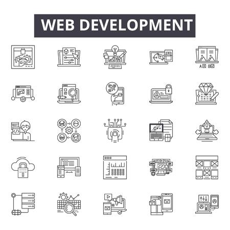 Web development line icons, signs, vector set, outline concept, linear illustration Vektorové ilustrace