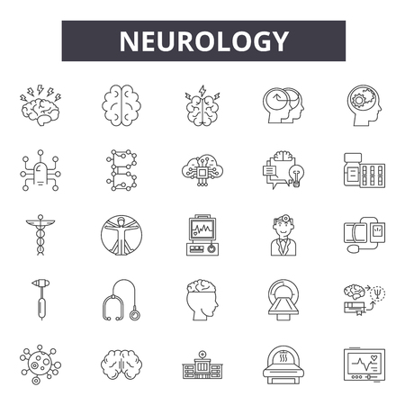 Neurology line icons, signs, vector set, outline concept, linear illustration Illustration