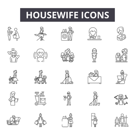 Housewife line icons, signs, vector set, outline concept, linear illustration