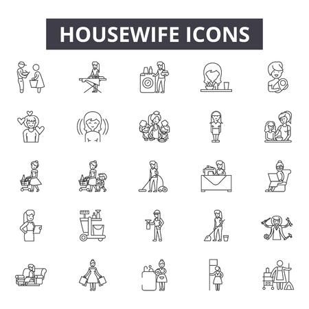 Huisvrouw lijn pictogrammen, tekens, vector set, schets concept, lineaire afbeelding
