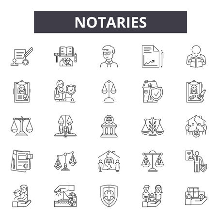 Notaries line icons, signs, vector set, outline concept, linear illustration Illustration