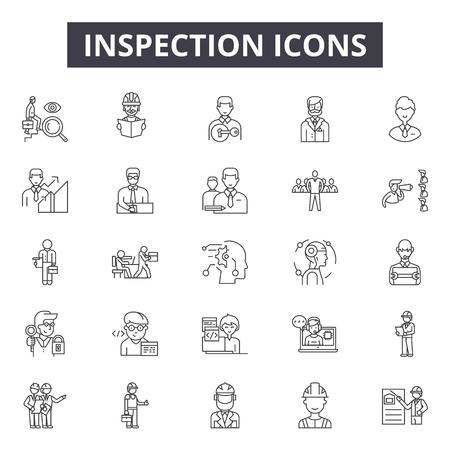 Icônes de ligne d'inspection, signes, ensemble de vecteurs, concept de contour, illustration linéaire