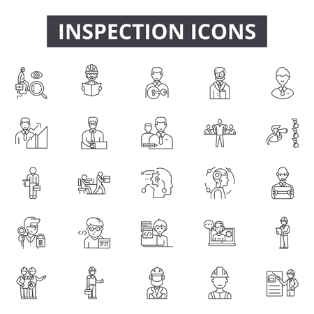 Inspection line icons, signs, vector set, outline concept, linear illustration