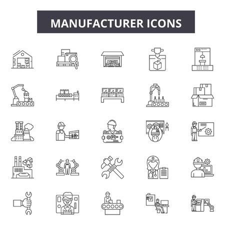 Iconos de línea de fabricante, signos, conjunto de vectores, concepto de esquema, ilustración lineal